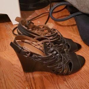Franco Sarto Black Wedge Sandals  6 1/2 M